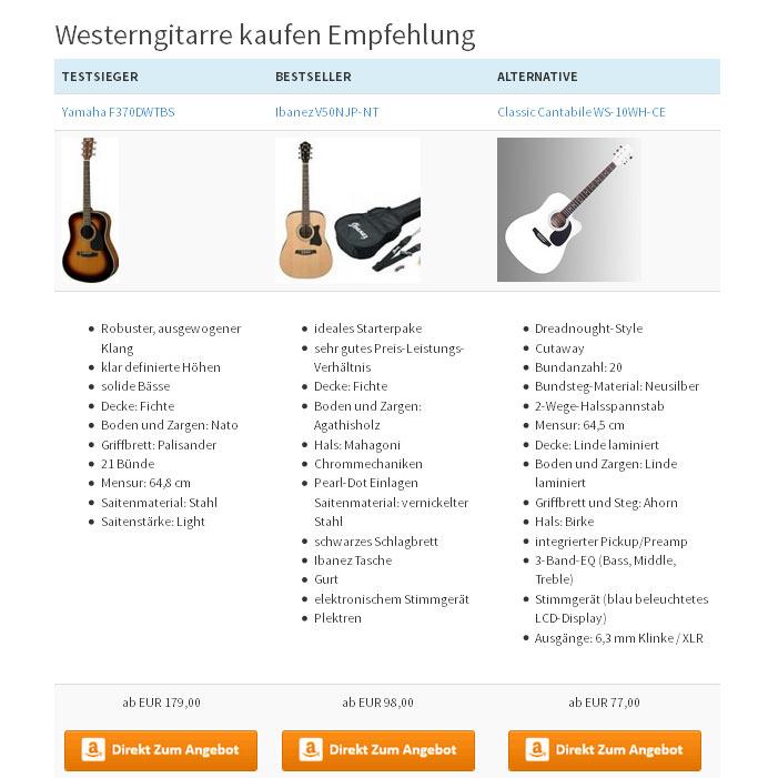 Westerngitarre kaufen online